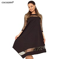 COCOEPPS Women Summer Sequins Dress Large Size Shiny Dress Black 2019 Sequined Sundress Big Size Dresses Mesh Women Clothing