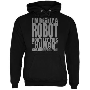 Halloween Human Robot Costume Black Adult Hoodie