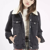 Denim Long-Sleeve Button Collar Thick Jacket