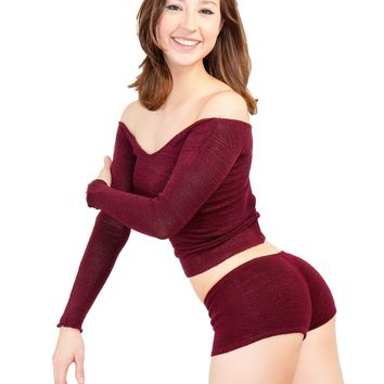 Sexy Yoga & Dance Booty Shorts & Boat Neck Sweater Top, High Quality Fashionable Dancewear Made In USA by KD dance New York