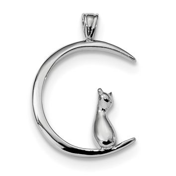 Sterling Silver CZ Cat On Crescent Moon Pendant