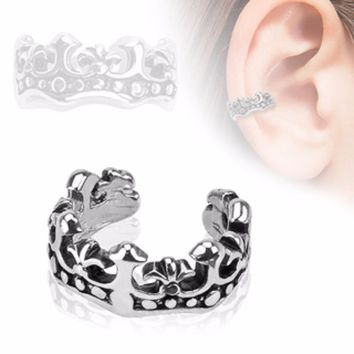Fleur De Lis Design Rhodium Plated Brass Non Piercing WildKlass Ear Cuff (Sold by Piece)