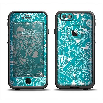 The Turquoise Fancy White Floral Design Apple iPhone 6 LifeProof Fre Case Skin Set