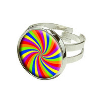 Rainbow Swirl Design Silver Plated Adjustable Novelty Ring
