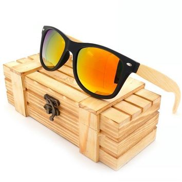 High Quality Vintage Black Square Sunglasses With Bamboo Legs Mirrored Polarized Summer Style Travel Eyewear Wood Box