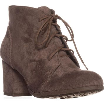 madden girl Torch Lace-Up Ankle Boots, Dark Taupe, 5.5 US