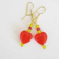 Red Heart Earrings Valentine SALE Czech Glass Earrings Heart Beads Made in Maine Beaded Earrings Red Bohemian Glass Handcrafted Jewelry