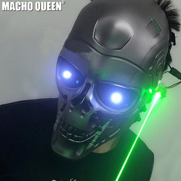 Burning Man Led Laser Mask Costumes Respirator Cyber Cosplay Summer Festival Rave Clothes Outfits Stage Gear (as photo)