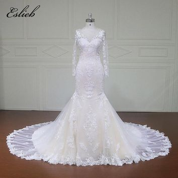 Eslieb Custom made Good Quality Wedding Dresses Zipper  back Appliques Bridal Gowns Vestido De Novias Wedding Dress xfm013