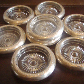Vintage Coasters Sterling Silver Crystal  Set of Eight(8) by Purana