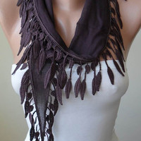 Fall Accessory - Brown-Dark Purple Cotton Scarf with Brown Trim Edge