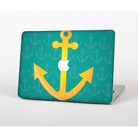 The Gold Stretched Anchor with Green Background Skin Set for the Apple MacBook Pro 13""