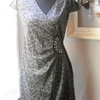 vintage Leopard print with silver studs accent Midi dress Size 10 Rockabilly WOW