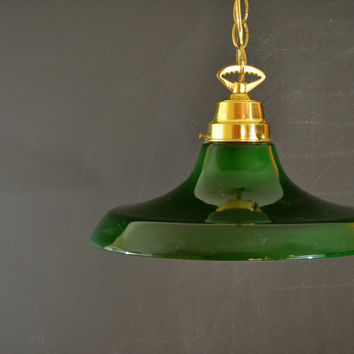 LARGE Green Glass Hanging Light Fixture, Wired In Fixture, Vintage Bankers Pendant Light, Bar Decor,