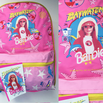 90s Barbie Backpack Vintage Hot Pink Barbie Baywatch Bag Bookbag 6fef6aa647