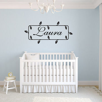 "Foliage Leaves Name Girls Nursery Room Vinyl Wall Decal Graphics 25""x11.5"" Bedroom Decor"