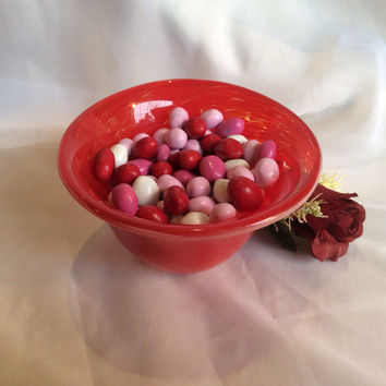 Red Blown Glass Bowl / Candy Dish.  Hand Blown Glass Bowl.  Valentine Decor.  Red Glass Bowl.