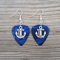 Silver Plated Anchor chain charm on blue guitar pick Earrings Jewelry