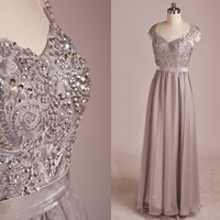 Classic Beading Embriodery Cap Sleeves See-through Back Lace Floor length Evening Gowns,Bridesmaid dresses,cocktail dresses,evening dresses