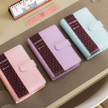 Macaron leather spiral notebook Original office person binder weekly planner agenda organizer Cute ring diary stationery A5 A6