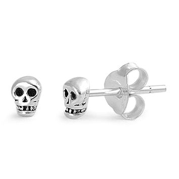 Sterling Silver Classic Skull Stud Earrings