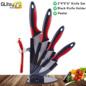 Ceramic Knife Kitchen 3 4 5 6 inch Chef Fruit Vegetable Knife + Peeler + Holder Block White Zirconia Blade Cooking Tool Set