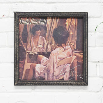 Linda Ronstadt, Simple Dreams, Framed Vinyl Art, Wall Decor, Vintage Vinyl Cover, Handmade Wooden Rustic Frame, 33 LP Record Artwork
