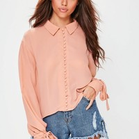 Missguided - Pink Button Through Tie Cuff Collared Shirt
