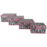 Magnetic Lidded Storage Boxes (Set of 4) (Black and Pink)