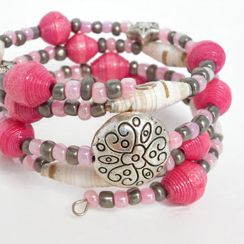 Pink White Grey Paper Bead Memory Wire Bracelet, Paper Bead Bracelet, Wrap Bracelet, Beaded Bracelet, Paper Beads, Silver Disc Bead