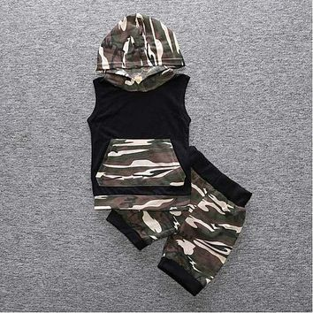 New baby boy clothing set sleeveless camouflage printing romper+pants fashion baby boys girls clothes newborn suit