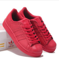 "Fashion ""Adidas"" Shell-toe Flats Sneakers Sport Shell-toe Pure color Shoes (7-Color) Red"
