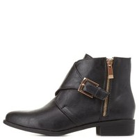 Bamboo Pointed Toe Monk Strap Booties by Charlotte Russe - Black