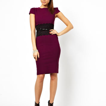 Short Sleeve Lace Belted Midi Bodycon Dress