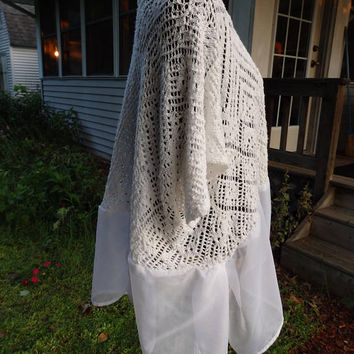 Plus Size Shrugs, White Sweater, Refashioned sweaters, Altered Boleros, Crocheted Tops, White Knit Wraps, Shabby Chic Tops, White Wraps