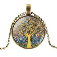 1 PC Retro Vintage Women Lady Girl Tree of Life Cabochon Bronze Glass Chain Pendant Necklace Newest Jewelry