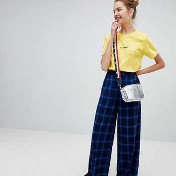 Daisy Street High Waist Wide Leg Pants In Check at asos.com