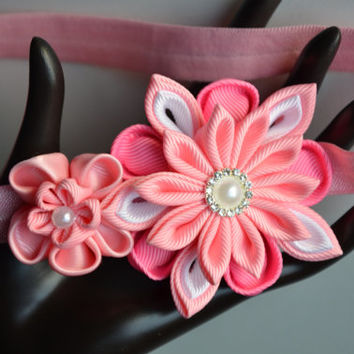 Pink baby headband, baby kanzashi headband, infant headband, photo prop, flower headband, newborn headband.