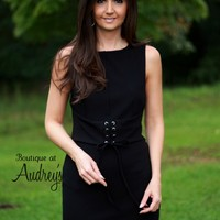 She and Sky Black Sleeveless Dress with Lace-up Faux Belt on Front