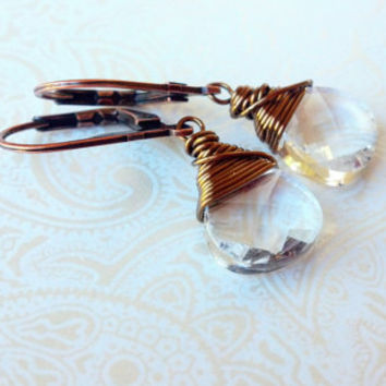Clear Crystal Swarovski Briolette Earrings in ANtique Bronze--Gift for Mom, AUnt, Friend, Co Worker