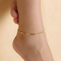 Women Golden Tone Elbow Pipe Chain Anklet Bracelet Barefoot Sandal Foot Jewelry