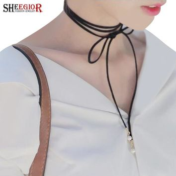 Sexy Long Choker Necklace Women Black Leather Rope Imitation Pearl Collar Necklace Bow Bijoux Collier Femme Fashion Jewelry Gift