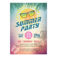Summer BBQ / SWIMMING / MUSIC Party Invitation
