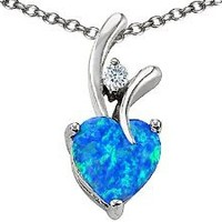 Amazon.com: Original Star K(tm) Heart Shape 8mm Created Blue Opal Pendant in .925 Sterling Silver: Star K: Jewelry
