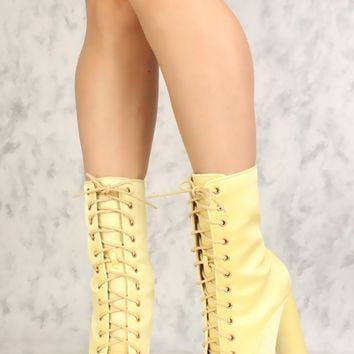 Sexy Yellow Lace Up Pointy Toe Chunky Heel Booties Satin