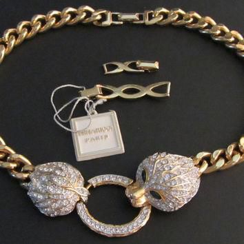 Nina Ricci Vintage 'Dutchess of Windsor' Puma Heavy Triple Gold Plate Chain Necklace 1