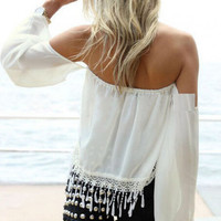 Strapless fringed shirt MG818GJ