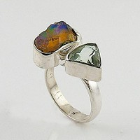 Praisiolite & Ethiopian Opal Rough Sterling Silver Adjustable Ring