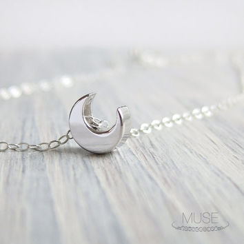 Sterling Silver Crescent Moon Necklace - Charm Necklace, Dainty Necklace, Celestial Jewelry, Silver Moon Necklace, Everyday Necklace
