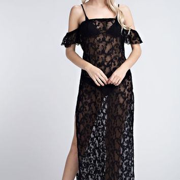 Sheer Off the Shoulder Lace Maxi Dress